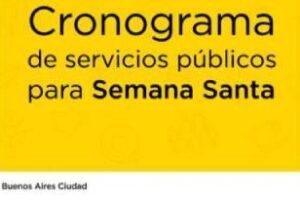 Cronograma de Servicios Públicos para Semana Santa