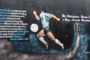 Polideportivo Martín Fierro:Mural en homenaje a Diego Maradona